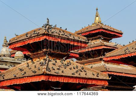 Temple roofs at Durbar Square in Kathmandu, Nepal