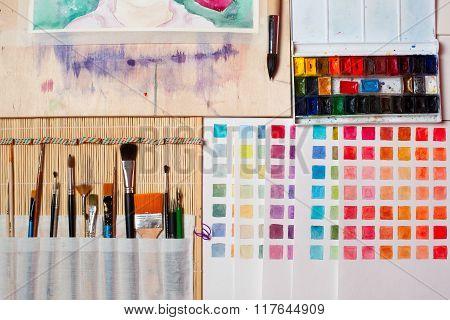 Artistic Tools In Art Studio