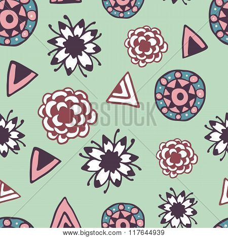 Vintage seamless pattern with hand drawn doodle elements