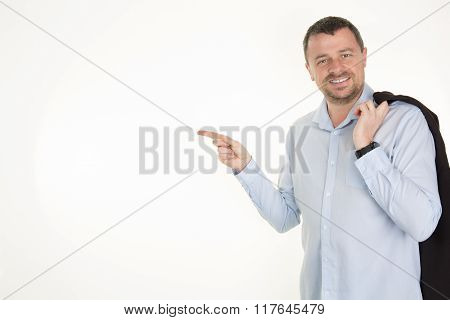 Smiling Man Points With Fingers In The Right Side Isolated