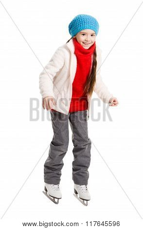 Happy Young Girl Figure Skating, Isolated