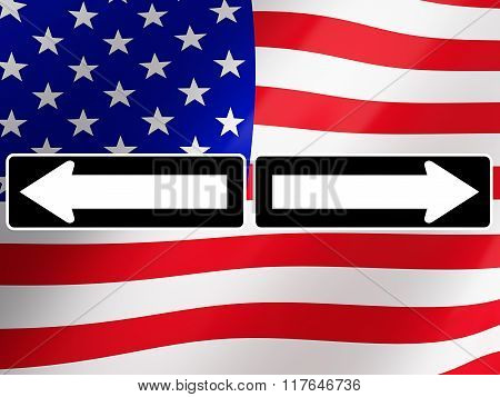 Election 2016, with american flag on background. 3d rendering