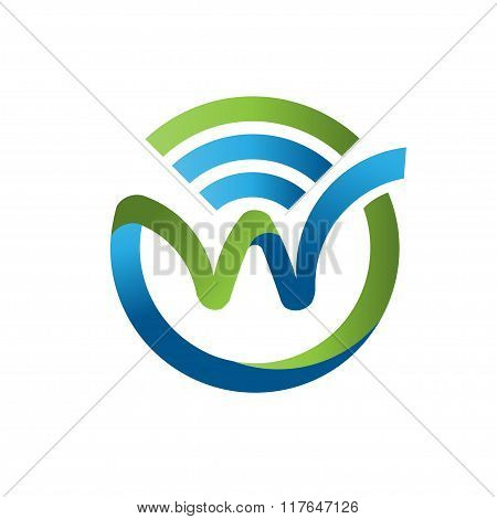 letter w with WiFi logo