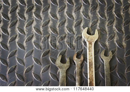 Wrench On Metal With Grunge Background