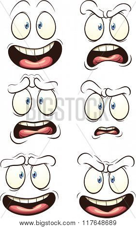 Cartoon faces with different expressions. Vector clip art illustration with simple gradients. Each face on a separate layer.