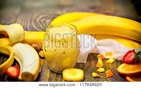 Banana smoothie - healthy smoothie  freshly prepared