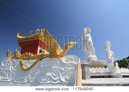 White Kuan Yin, Chinese Goddess Of Mercy With Golden Chinese Swan