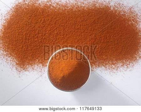 top view of chili powder