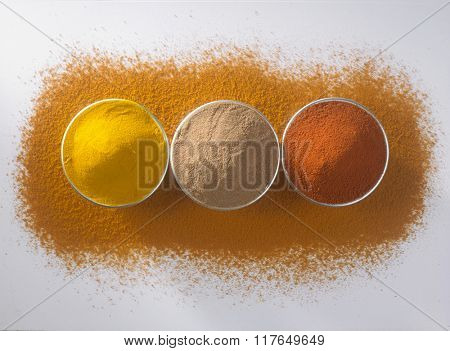 assorted curry powder on the curry powder