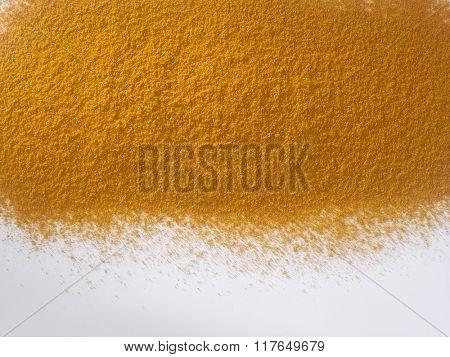 turmeric powder on the white background