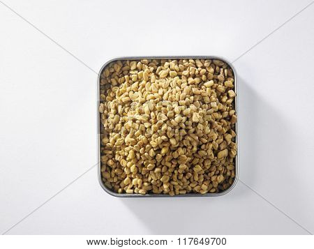 top view of fenugreek on square container