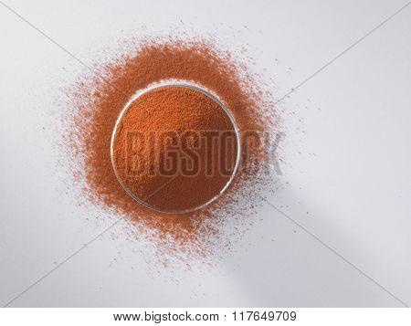 top view bowl  of chili powder