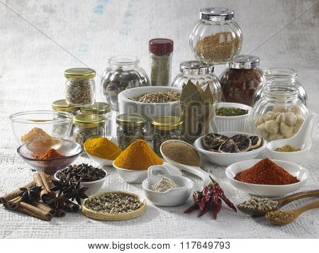 assorted spice on the white burlap