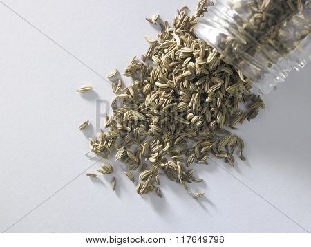cumin seeds pouring out from glass container