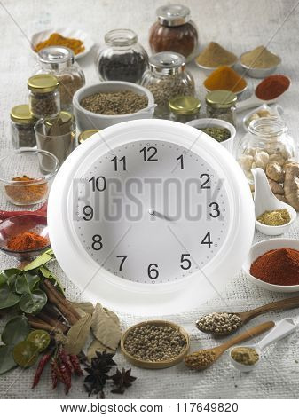 Clock with a bunch of assorted spices.