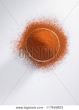 top view bowl of curry powder
