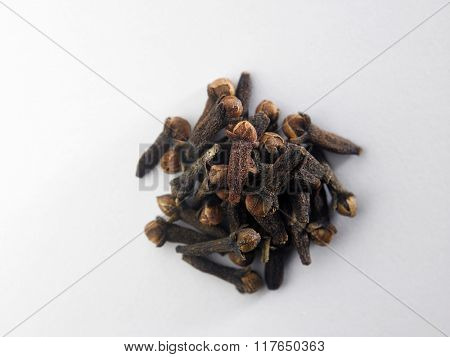 Top view cloves against white background