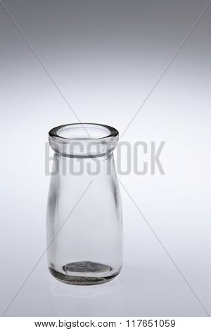 empty glass container on the white background