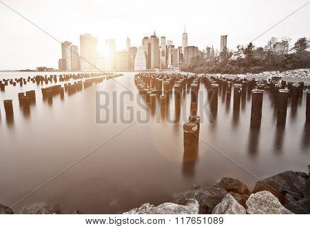 New York lower Manhattan skyline long exposure