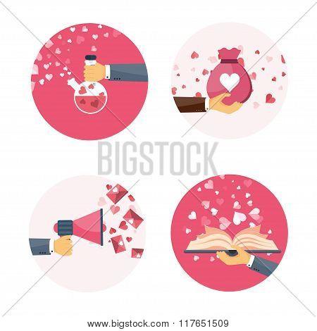 Vector illustration. Flat background with hand, bag, book, loudspeaker, potion. Love, hearts. Valent