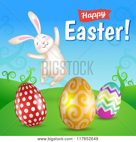 Easter Eggs And White Jumping Bunny In The Meadow