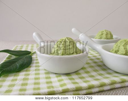 Ice cream with matcha green tea