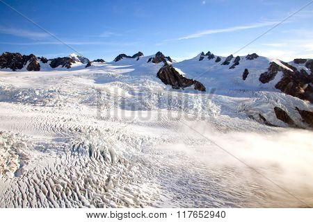 Aerial view of winter landscape at Mountain Cook National Park New Zealand from Helicopter
