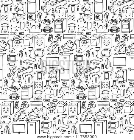 Household appliances hand drawn seamless pattern