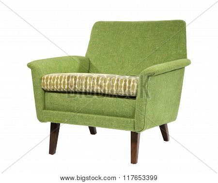 Sofa In Light Green Retro Sixties Seventies Style Isolated On Wh