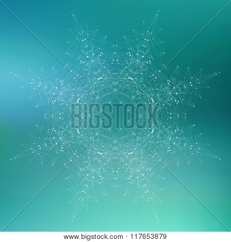 Geometric abstract form with connected line and dots. Graphic background for your design. Vector ill