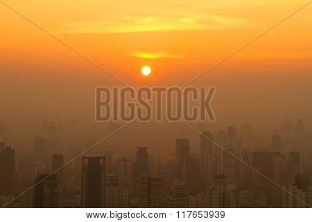 Aerial View Of Big City At Misty Sunrise