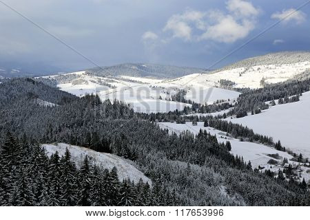 winter scene in mountains, take it in Slovakia