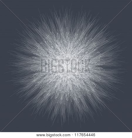 Geometric  abstract form with connected line and dots. Graphic background for your design. Vector il