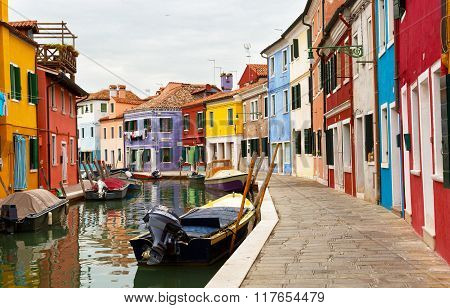 Multicolored Walls Of Houses And Motor Boats On Burano Island, Venice