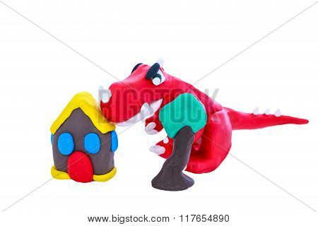Creative Red Dinosaur Clay Model, Isolated. Play Dough Animal