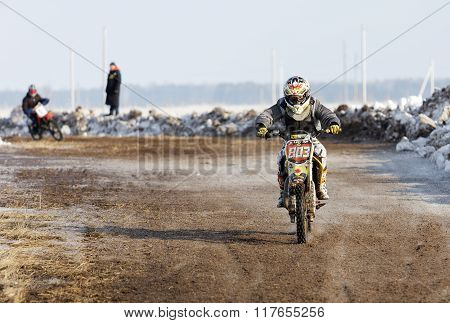 Shot Of A Winter Motocross Competition.