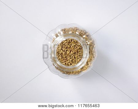 top view of fenugreek in a glass container