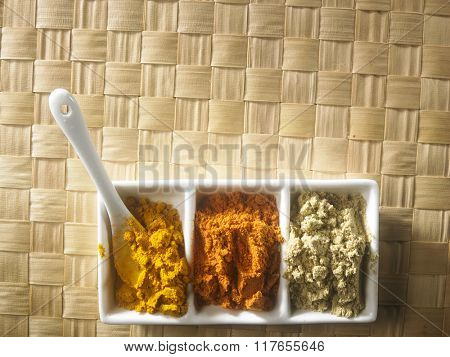 top view of assorted curry powder