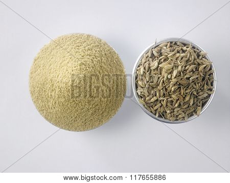 top view of the cumin seeds and coriander powder