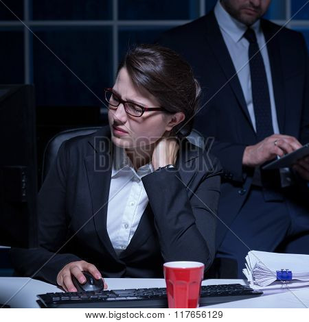Businesswoman Working Long Hours