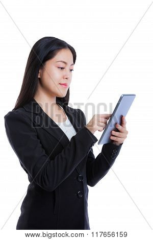 Asian Woman Holding Tablet Computer Isolated On White Background, Working On Touching Screen.