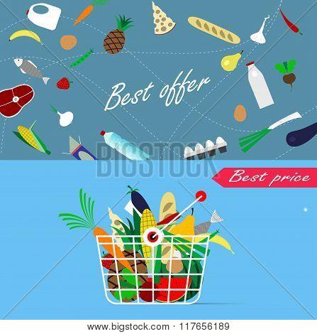 Basket Full Of Healthy Organic Fresh And Natural Food.