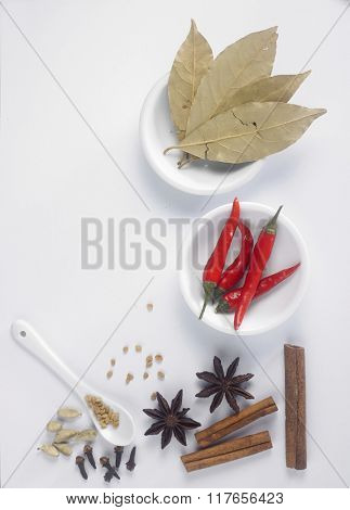 top view of assorted spices on the white background