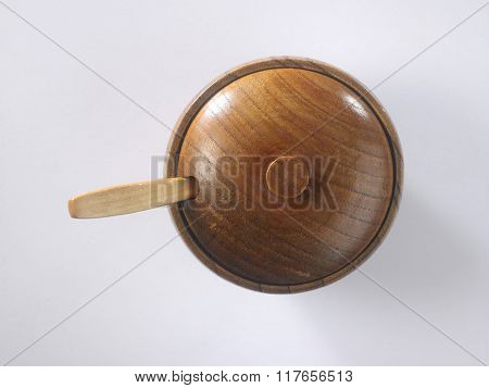 wooden round container with lid and spoon