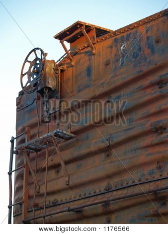 Rusty Freight  Car With Brake Wheel