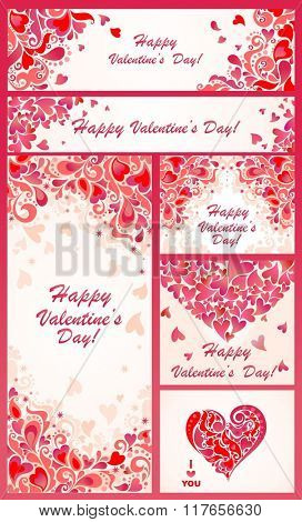 Set of banner for Valentines day
