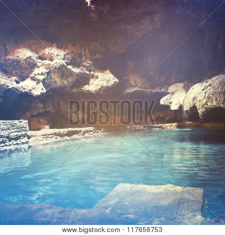 Hot springs in Canadian Rockies with instagram effect