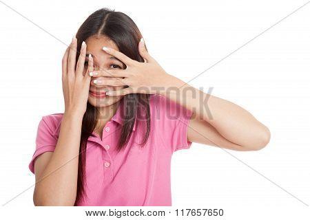 Beautiful Asian Girl Peeking Through Fingers