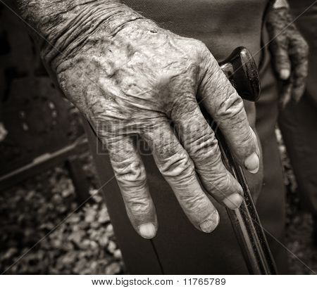 Old man's hand