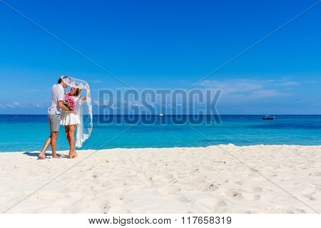 outdoor portrait of young happy couple on wedding day, outdoor beach wedding on tropical beach and sea background